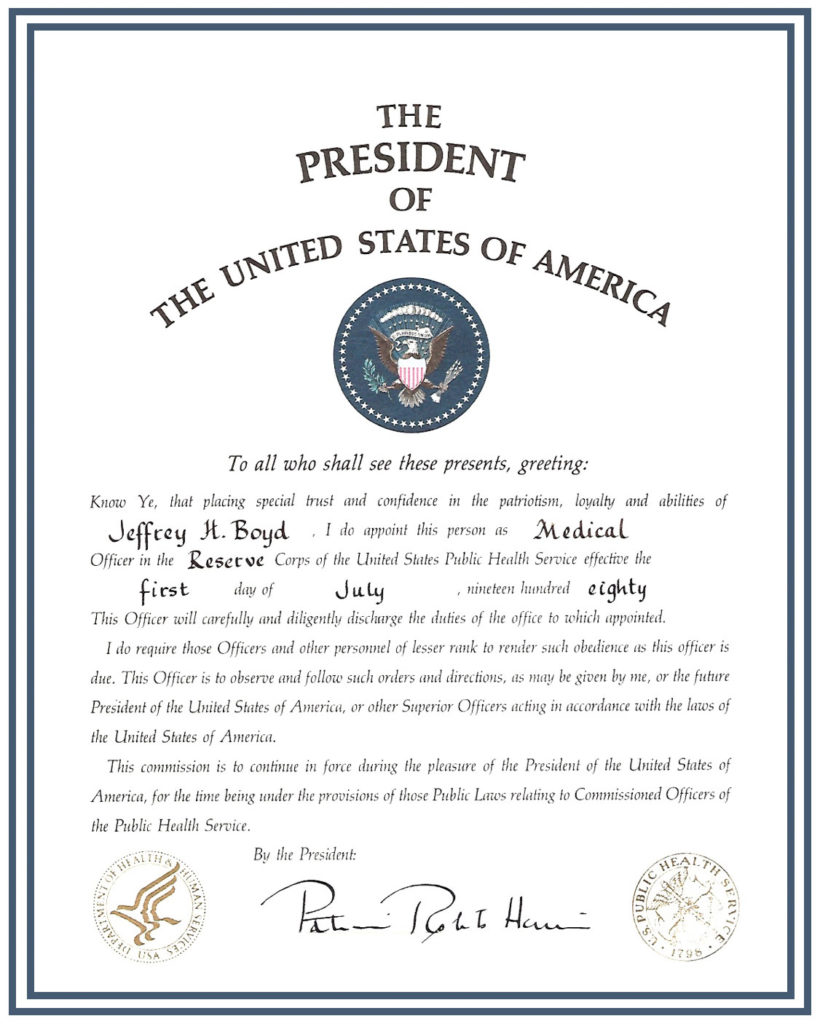 Certificate appointing Jeff Boyd by Ronald Reagan